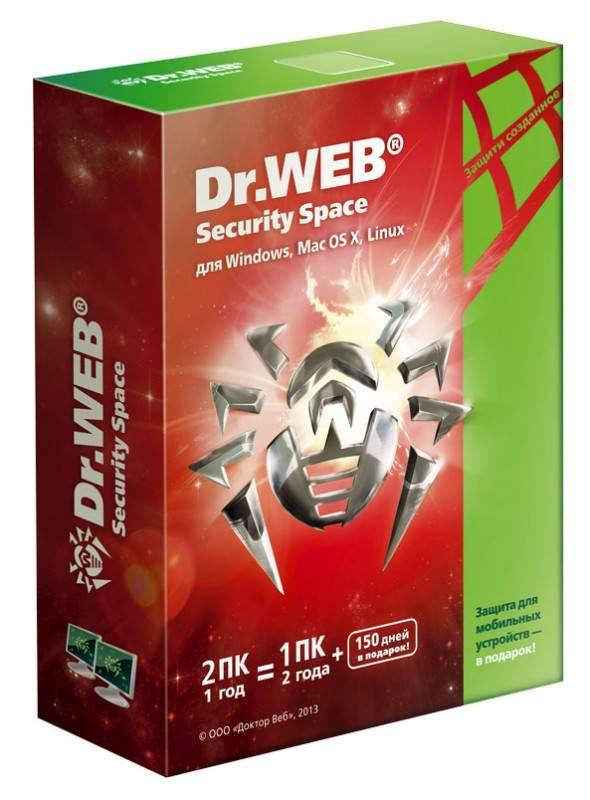 ПО Dr.Web Коробка Security Space Pro. Картонная упаковка на 2ПК, 12мес (BHW-B-12M-2A3) - фото 1