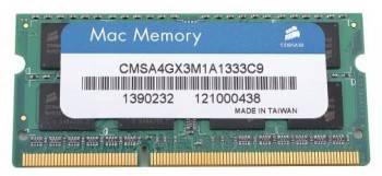 Модуль памяти Corsair CMSA4GX3M1A1333C9, объем 1 х 4Gb, форм-фактор SO-DIMM 204-pin, тип памяти DDR3, рабочая частота 1333MHz, тайминги 9-9-9-24, unbuffered