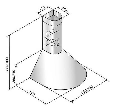 Каминная вытяжка Elikor Эпсилон 60П-430-П3Л белый/золотистый (КВ II М-430-60-50) - фото 2