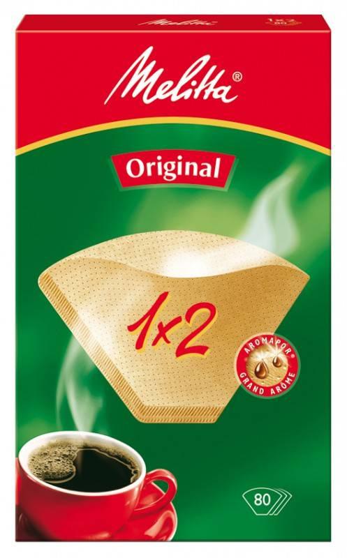 Фильтры для кофе для кофеварок капельного типа Melitta белый 1x2, в упаковке 40шт. (0100001) - фото 1