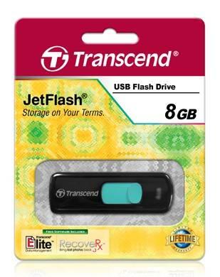Флешка Transcend Jetflash 500 8ГБ USB2.0 черный/голубой (TS8GJF500) - фото 2
