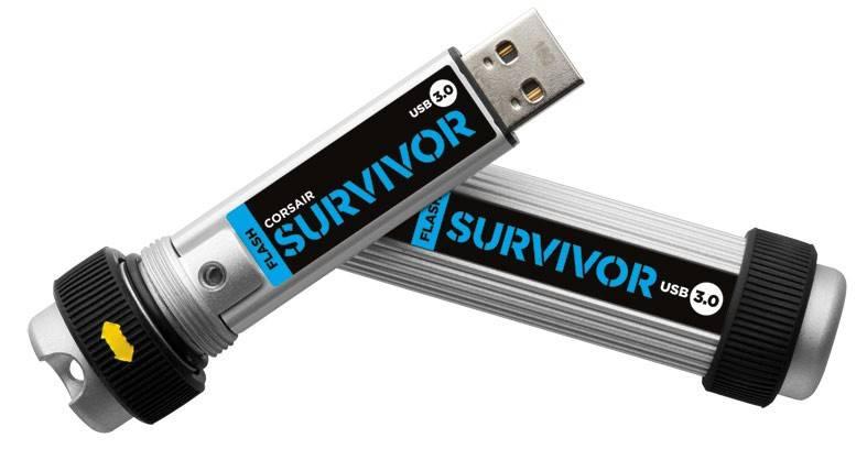 Флеш диск Corsair Survivor 8ГБ USB3.0 серебристый/черный - фото 2