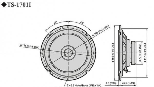 Автомобильные колонки Pioneer TS-1701I - фото 2