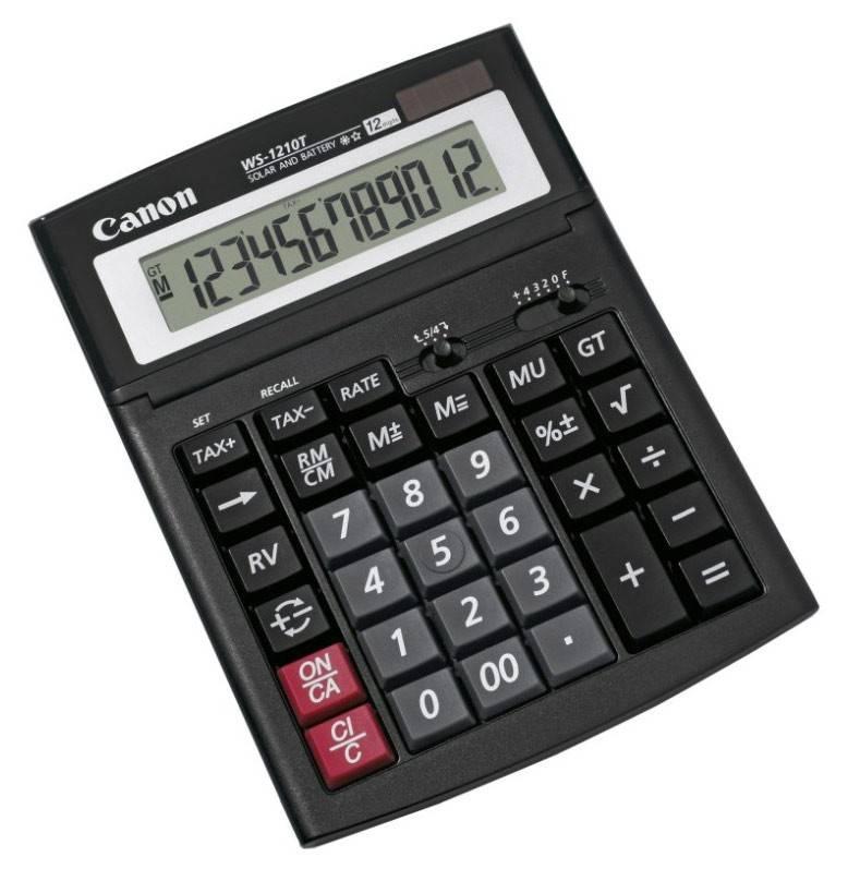 Калькулятор бухгалтерский Canon WS-1210T черный - фото 1