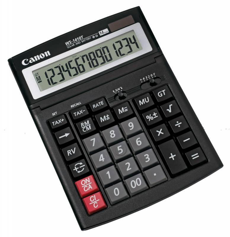 Калькулятор бухгалтерский Canon WS-1410T черный 14-разр. - фото 1