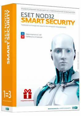 ПО Eset NOD32 Smart Security - лиц на 1год или прод на 20мес 3 ПК Box (NOD32-ESS-1220(BOX)-1-1)