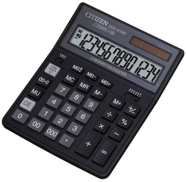 Калькулятор бухгалтерский Citizen SDC-414 N черный (SDC-414N) - фото 1
