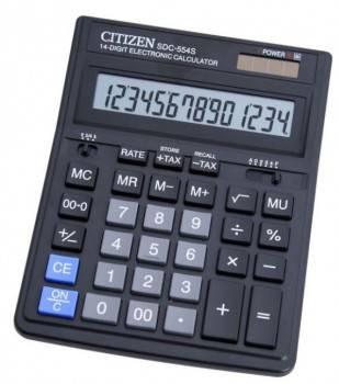 Калькулятор бухгалтерский Citizen SDC-554 S черный (SDC-554S)