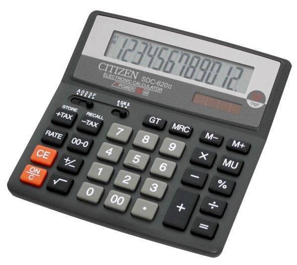 Калькулятор бухгалтерский Citizen SDC-620 II черный 12-разр. - фото 1
