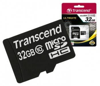Карта памяти microSDHC 32Gb Class10 Transcend (TS32GUSDHC10)
