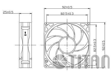 Вентилятор Titan TFD-9225H12ZP/KU(RB), размер 90x90x25мм - фото 3