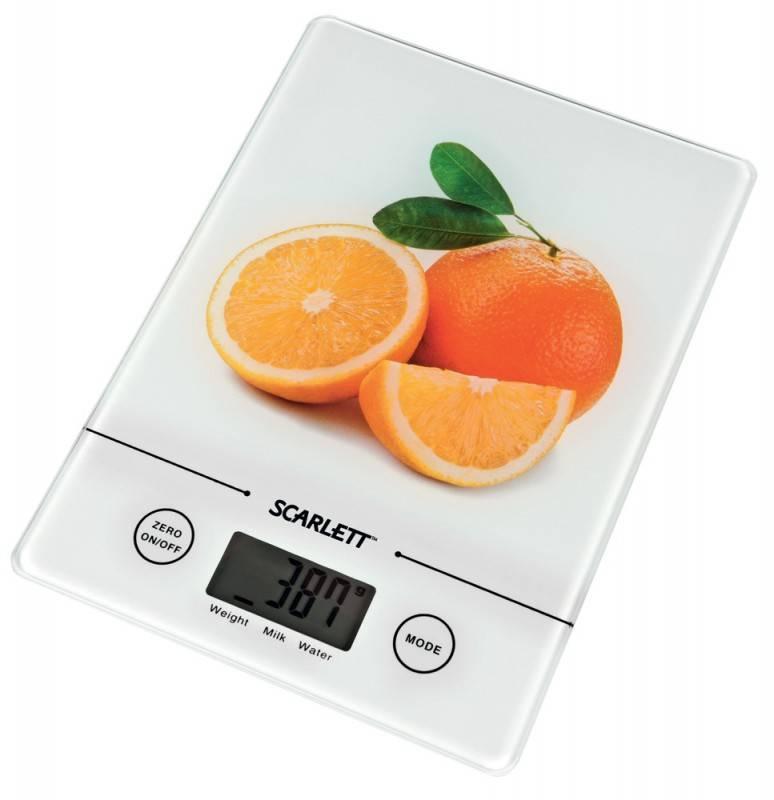 Кухонные весы Scarlett SC-1213 белый/апельсин - фото 1