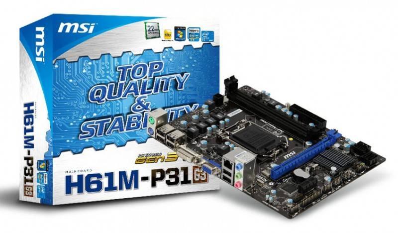 Материнская плата Soc-1155 MSI H61M-P31 (G3) mATX BULK - фото 4