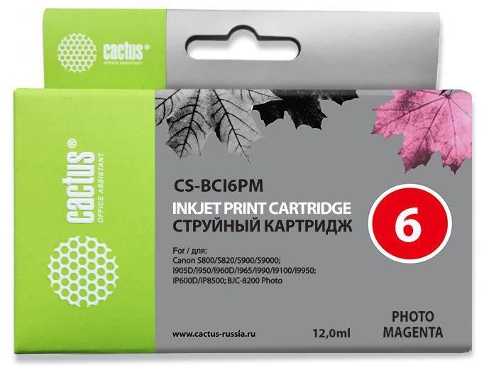 Картридж струйный Cactus CS-BCI6PM светло-пурпурный - фото 1