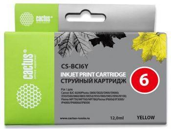 Картридж струйный Cactus CS-BCI6Y желтый