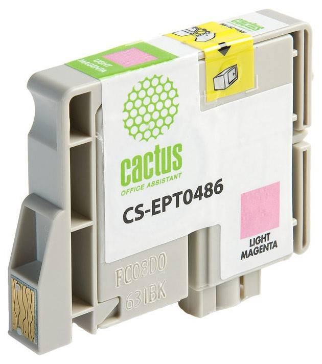 Картридж струйный Cactus CS-EPT0486 светло-пурпурный - фото 2