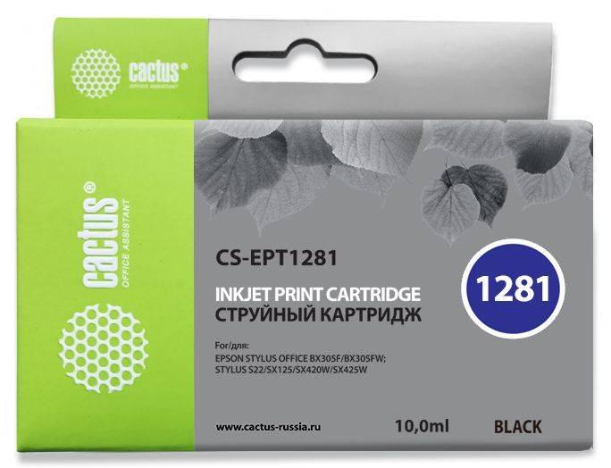 Картридж струйный Cactus CS-EPT1281 черный - фото 1