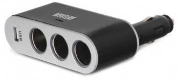 Разветвитель розетки прикуривателя с USB разъемом Mystery MCU-3U