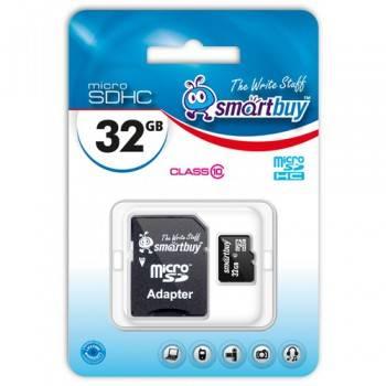 Карта памяти microSDHC 32Gb Class10 SmartBuy SB32GBSDCL10-01
