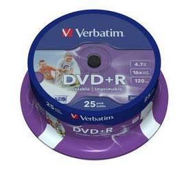 Диск DVD+R Verbatim 4.7Gb 16x (25шт) (43539)