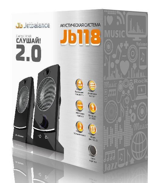 Колонки Jetbalance JB-118 черный 2.0 - фото 2