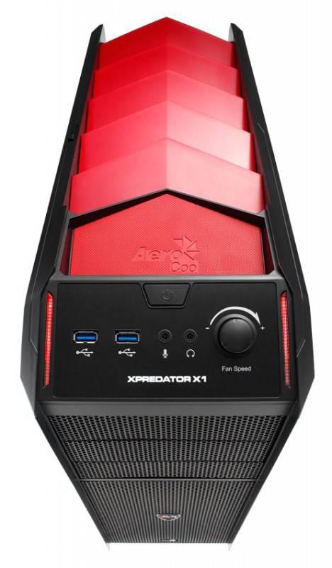 Корпус ATX Aerocool Xpredator X1 Devil черный/красный - фото 2