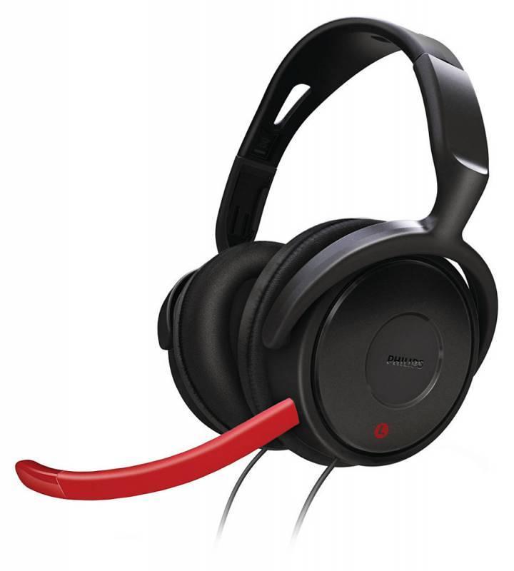 Наушники с микрофоном Philips SHG7980/10 черный/красный - фото 1