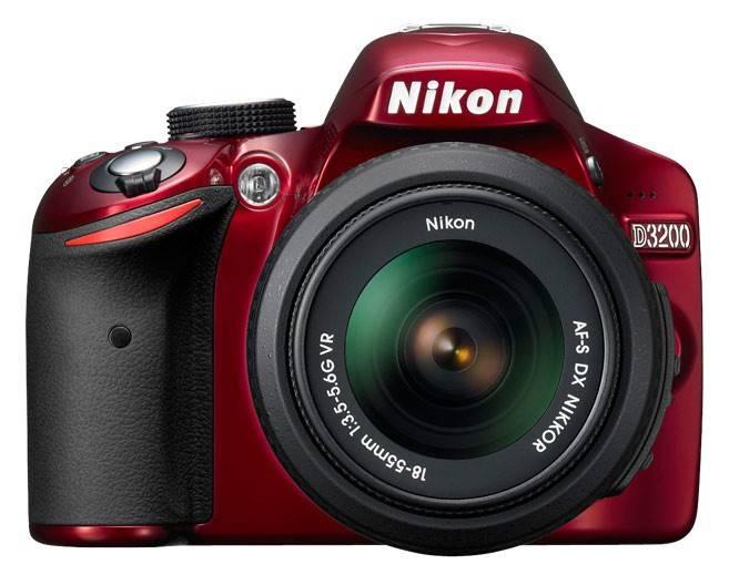 Фотоаппарат Nikon D3200 красный, 1 объектив AF-S DX NIKKOR 18-55mm f/3.5 - f/5.6G VR - фото 1