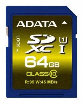 Карта памяти SDXC 64Gb Class10 A-Data ASDX64GUI1CL10-R