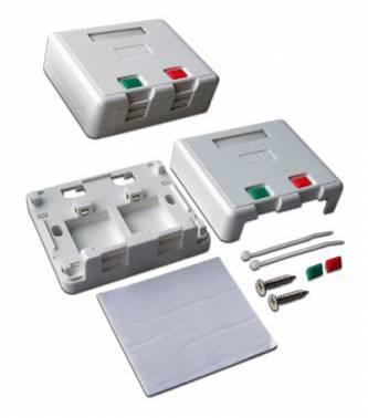 Коробка настенная Lanmaster SA на 2 модуля keystone с защитными шторками LAN-SA2 / S-WH