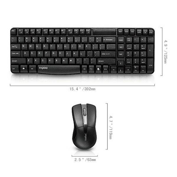 Комплект клавиатура+мышь Rapoo X1800 черный/черный (11566) - фото 3