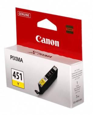 Картридж струйный Canon CLI-451Y 6526B001 желтый - фото 1