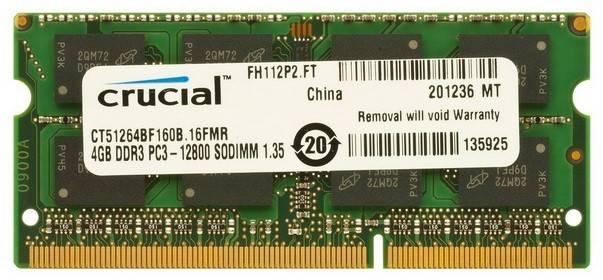 Модуль памяти SO-DIMM DDR3L 4Gb Crucial CT51264BF160B(J) - фото 1