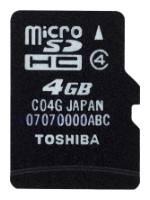 Карта памяти microSDHC 4Gb Class4 Toshiba SD-C04GJ(BL5A