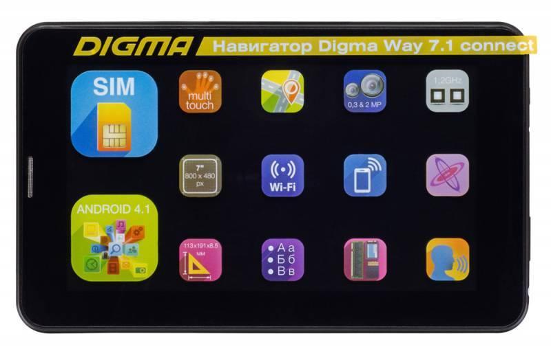 """GPS-навигатор Digma Way 7.1 connect 7"""" черный - фото 2"""