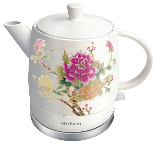 Чайник электрический Rolsen RK-1590CFLOWER белый/рисунок - фото 1