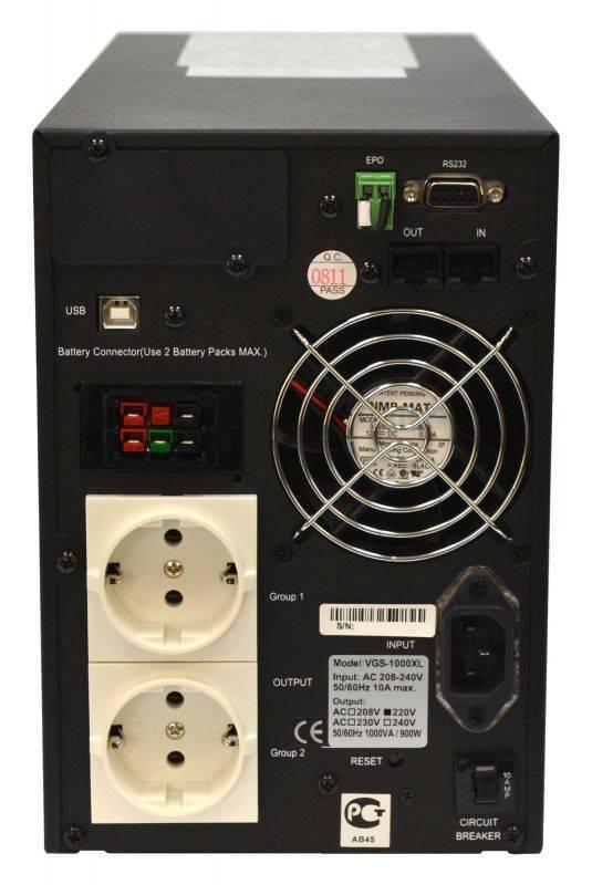 ИБП Powercom Vanguard VGS-1000XL черный - фото 3