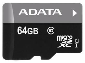 Карта памяти microSDHC 64Gb Class10 A-Data AUSDX64GUICL10-RA1
