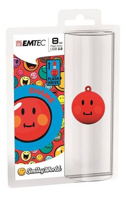 Флеш диск 8Gb Emtec Smiley Shame USB2.0 красный/рисунок - фото 2