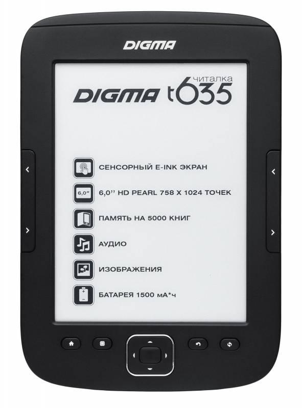"""Электронная книга 6"""" Digma T635 черный - фото 1"""