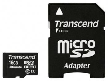 Карта памяти microSDHC 16Gb Class10 Transcend Ultimate TS16GUSDHC10U1