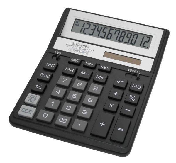 Калькулятор бухгалтерский Citizen SDC-888XBK черный - фото 1