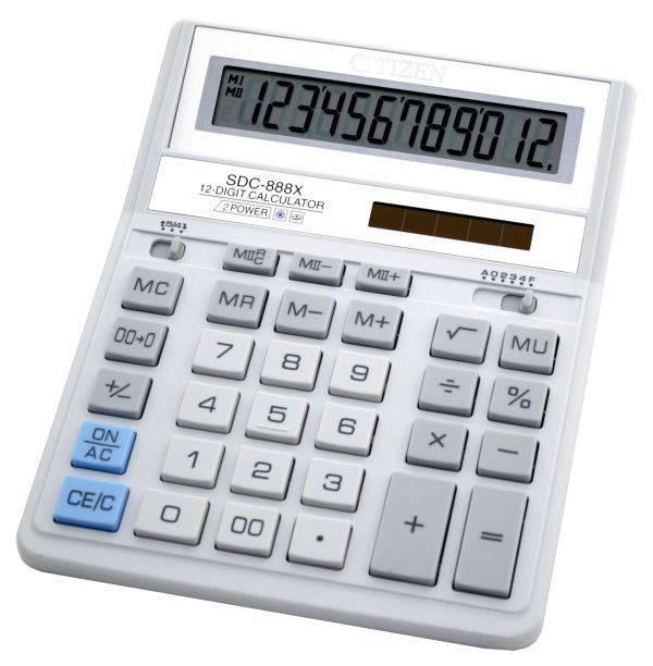 Калькулятор бухгалтерский Citizen SDC-888XWH белый 12-разр. - фото 1