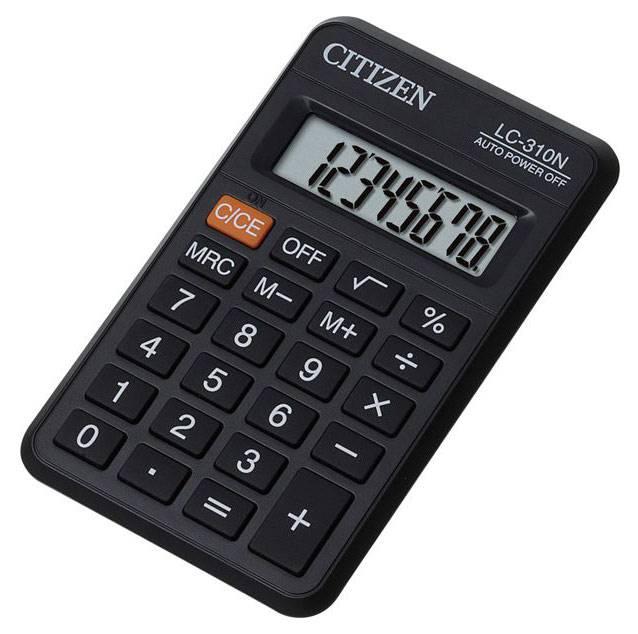 Калькулятор карманный Citizen LC-310N черный 8-разр. - фото 1