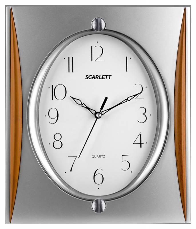 Настенные часы Scarlett SC-55QI аналоговые серебристый - фото 1