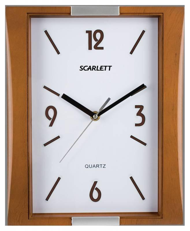 Настенные часы Scarlett SC-55QS аналоговые коричневый - фото 1