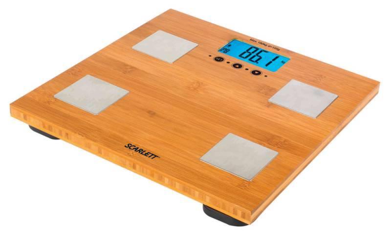 Весы напольные электронные Scarlett SC-2216 бамбук - фото 1