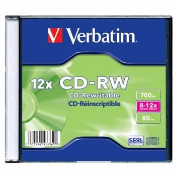 Диск CD-RW Verbatim 700Mb 12x (1шт) (43762)
