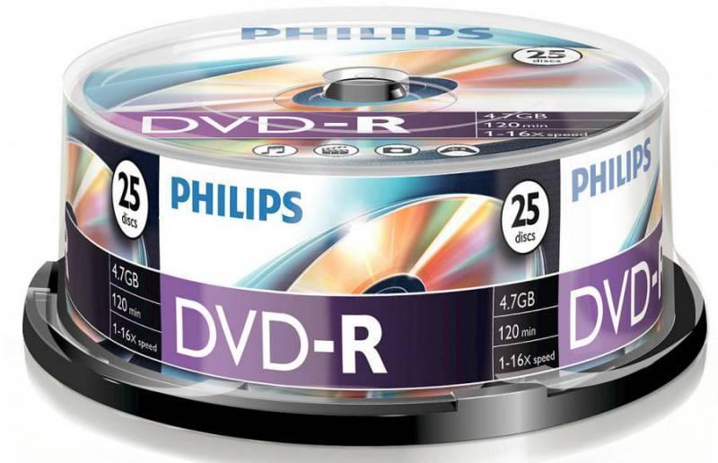 Диск DVD-R Philips 4.7Gb 16x (25шт) (DM4S6B25F/97) - фото 1
