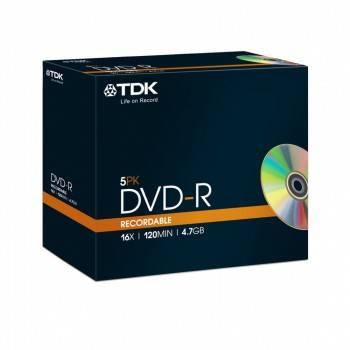 Диск DVD-R TDK 4.7Gb 16x (5шт) (T19410)